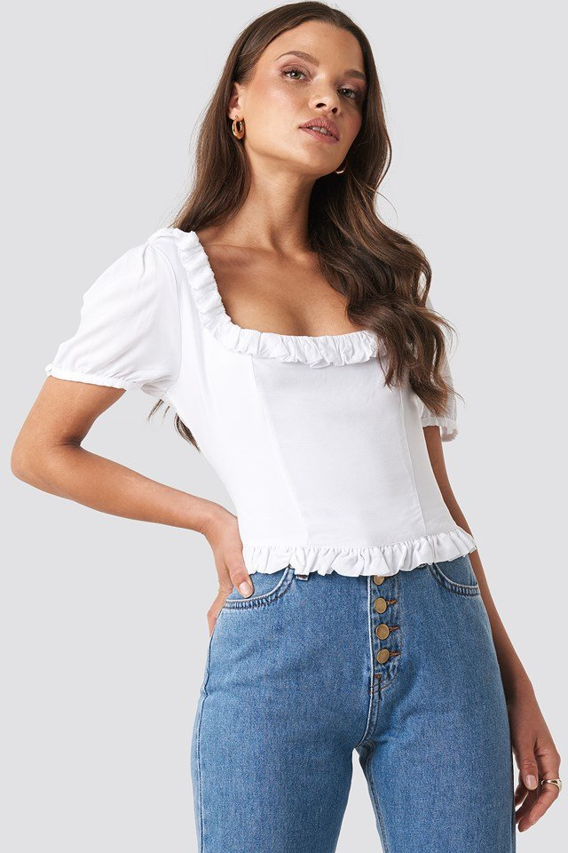 Colleen Cropped Frill Top White