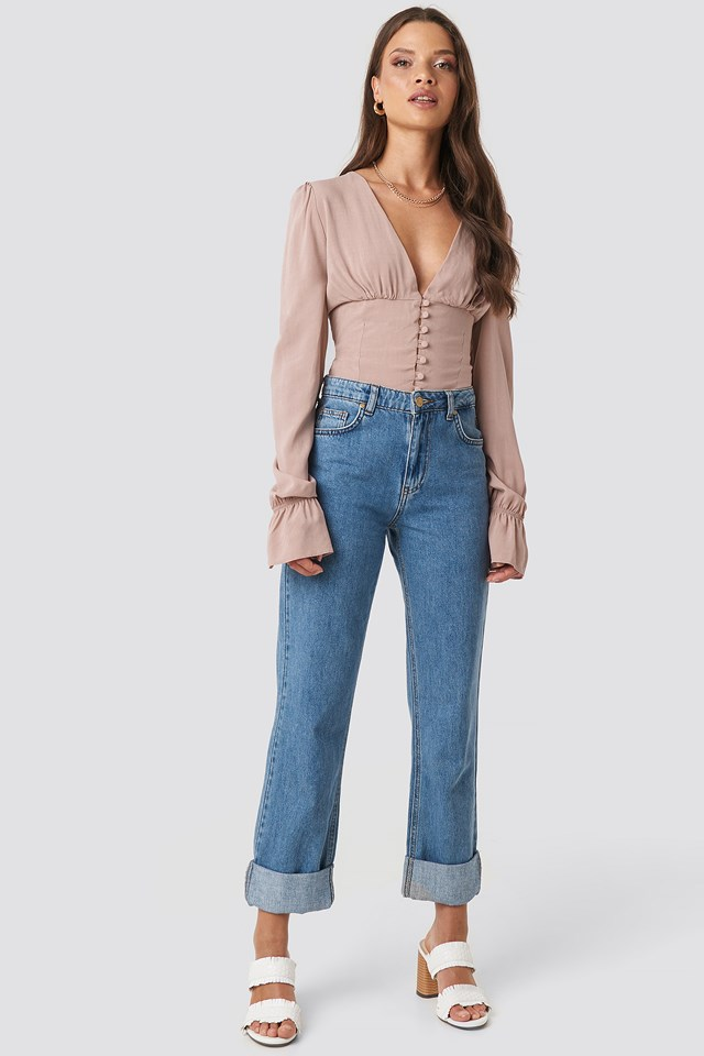Emma Frill Sleeve Blouse Dusty Pink