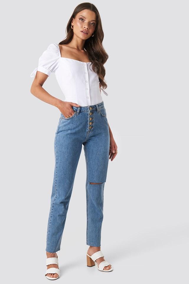 Jess Tie Sleeve Blouse White