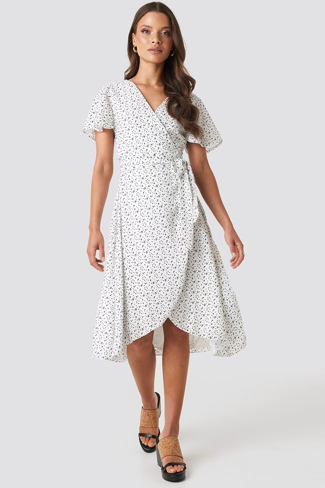 Laura Overlap Midi Dress White Print