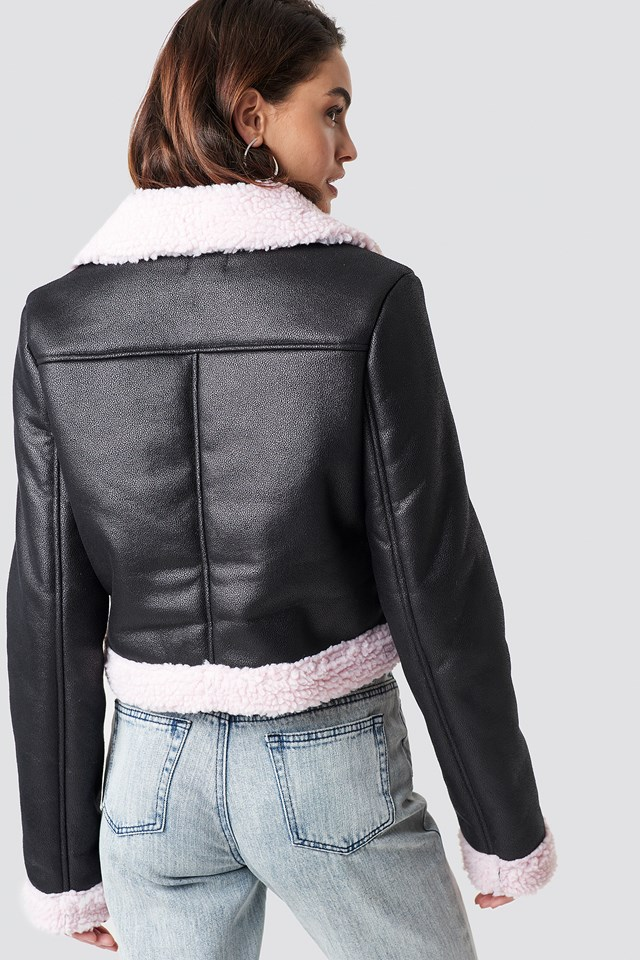 Monica Aviator Jacket Black/Pink