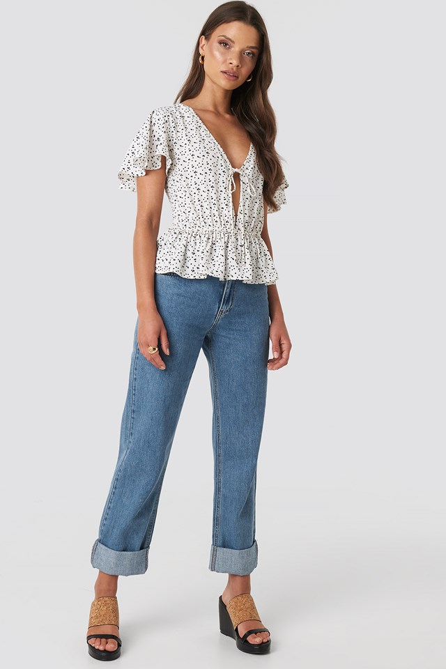 Remy Tie Front Frill Top White Print