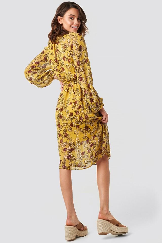 Yellow Flower Print Midi Dress Yellow