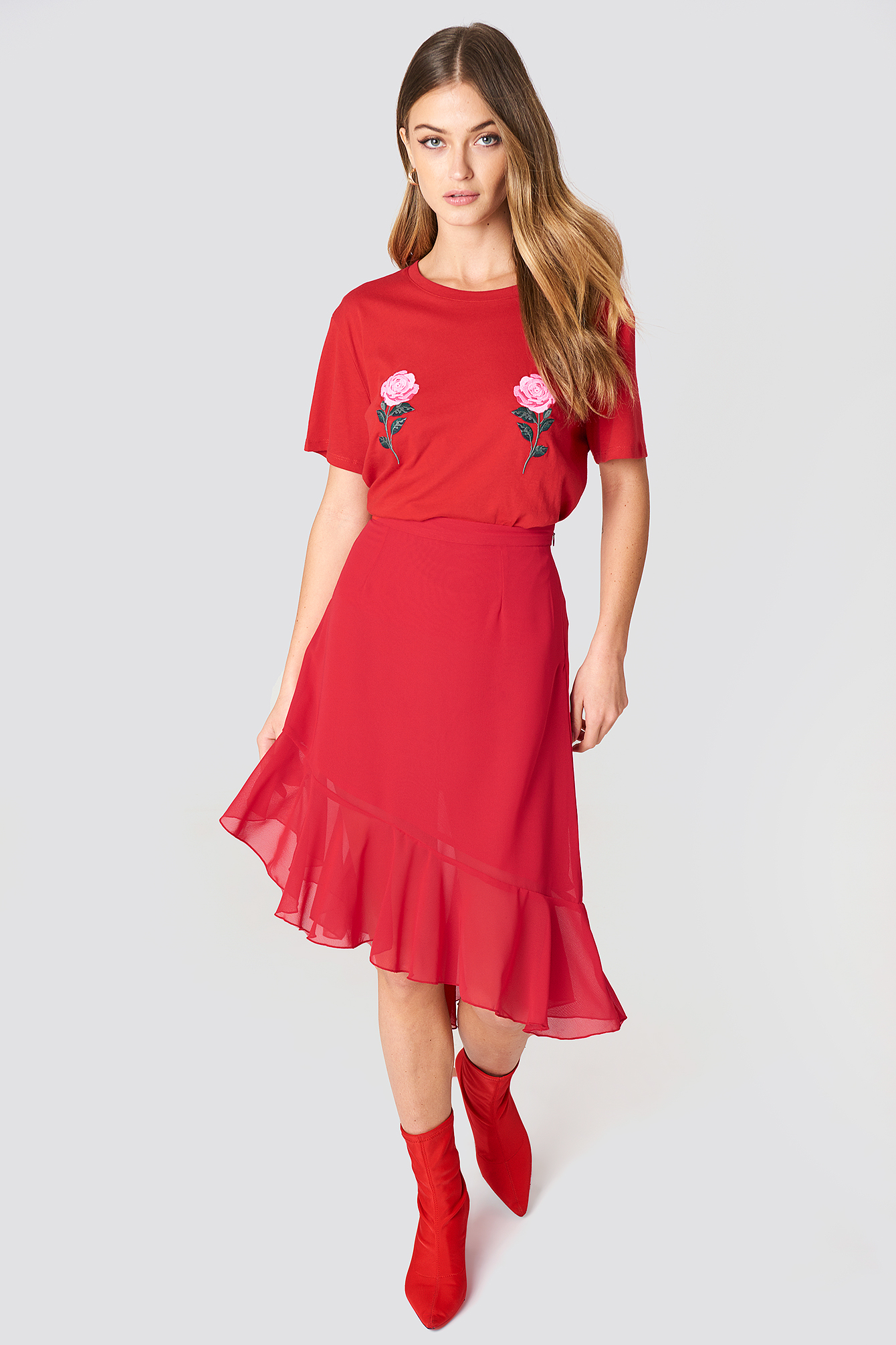 na-kd -  Asymmetric Ruffle Chiffon Skirt - Red