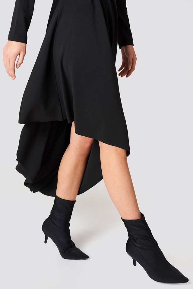 LS Draped Jersey Dress Black