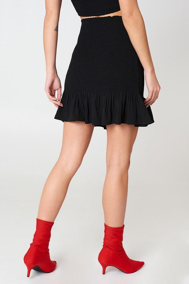 Smock Frill Detail Skirt Black