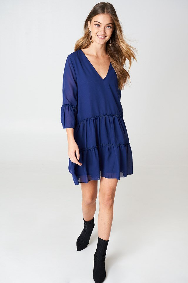 V-Neck Ruffle Mini Dress Dark Blue