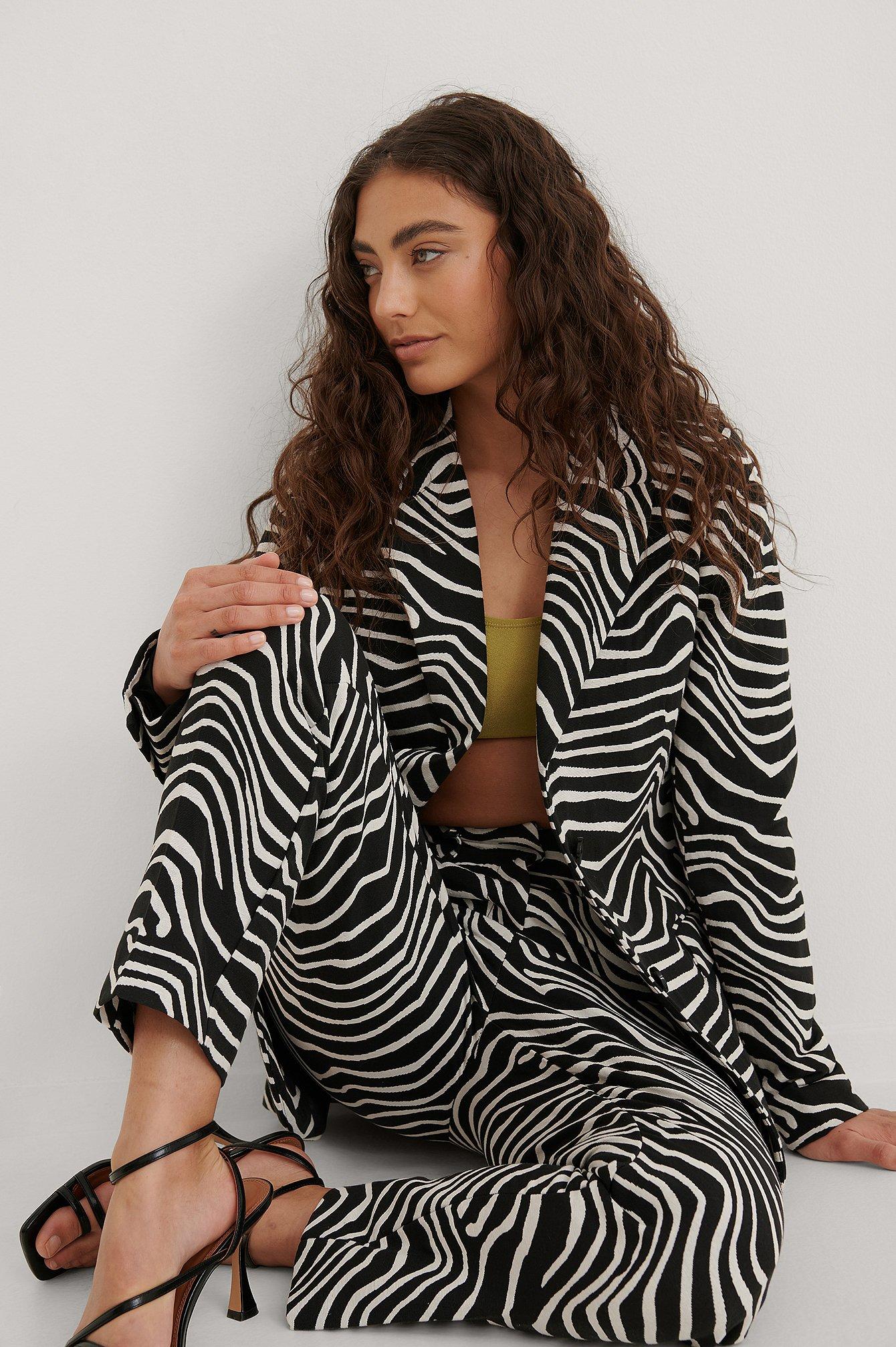 na-kd trend -  Mit Zebramuster Blazer - Black