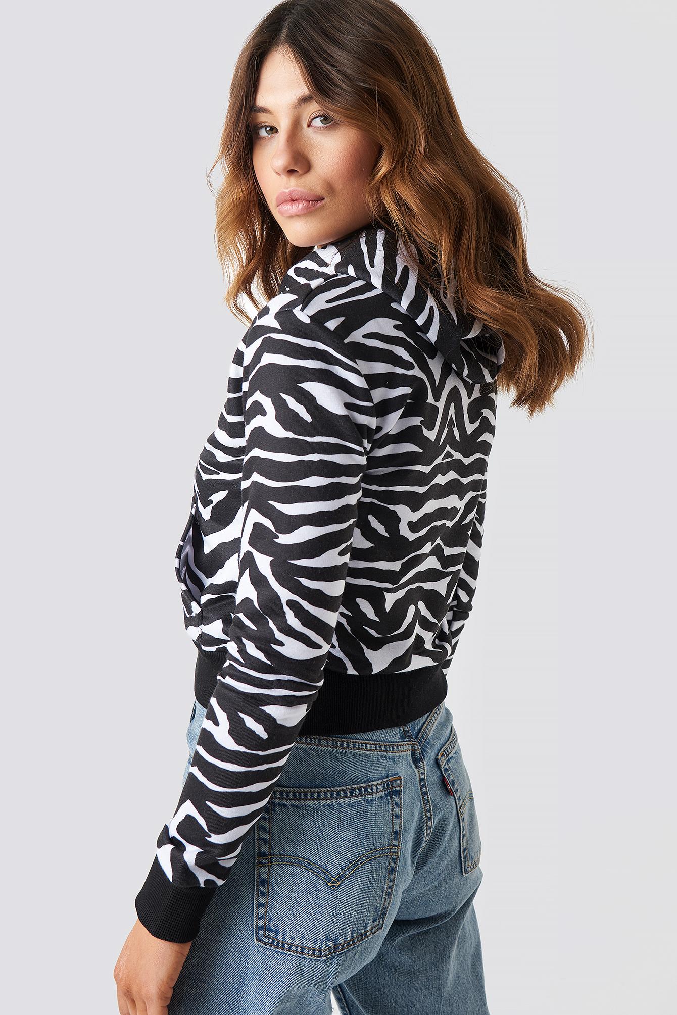Zebra Crop Hoodie NA-KD.COM