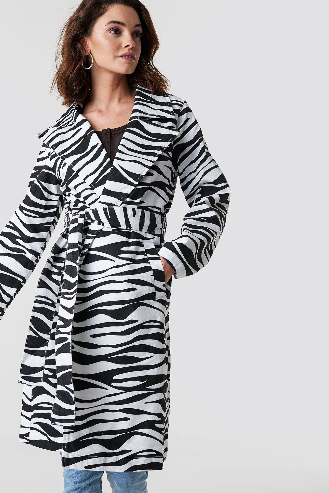 na-kd trend -  Zebra Denim Trenchcoat - Black,White,Multicolor