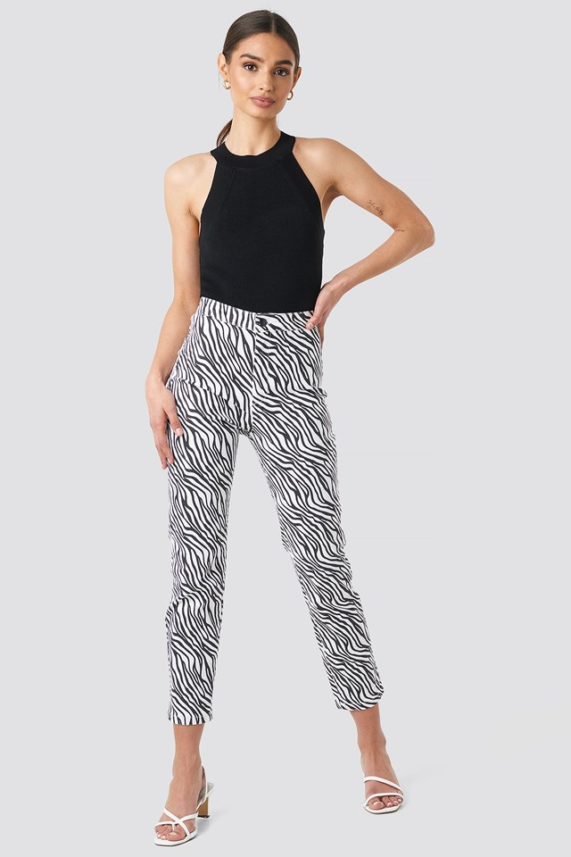 Zebra Denim Pants NA-KD Trend