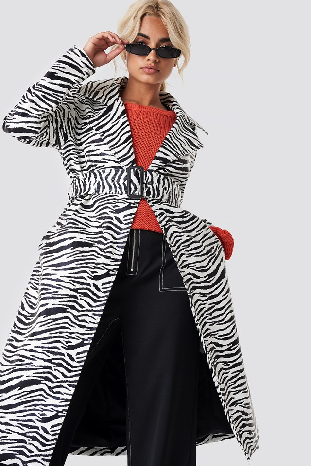 Zebra Patent Coat NA-KD.COM