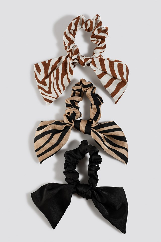Zebra Pattern Scrunchie Set Mixed