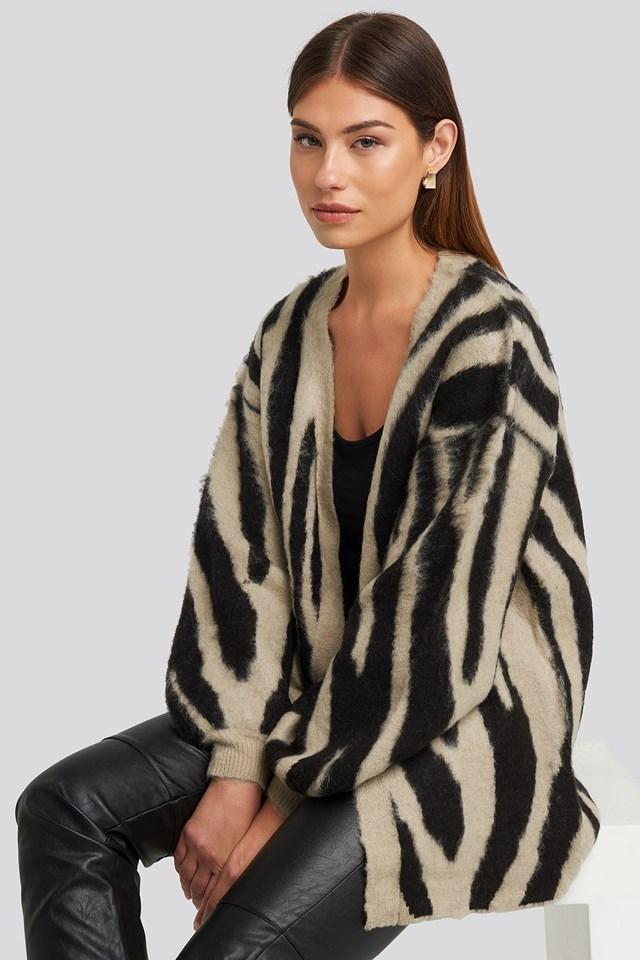 Zebra Printed Oversized Cardigan Beige
