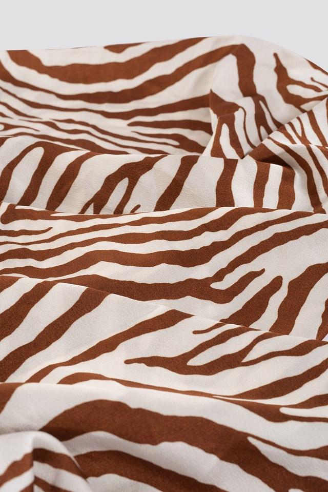 Zebra Satin Scarf Terracotta