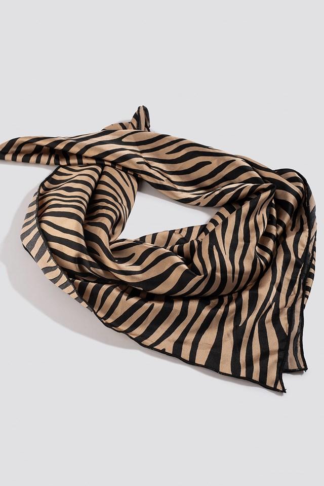 Zebra Satin Scarf beige/Black