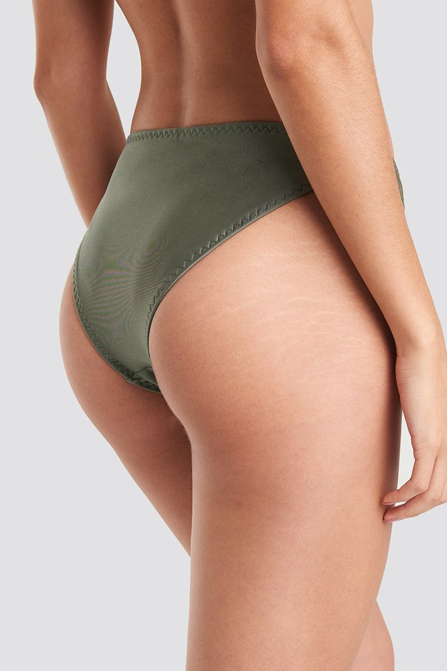 Zig-Zag Seam Bikini Panty Khaki Green