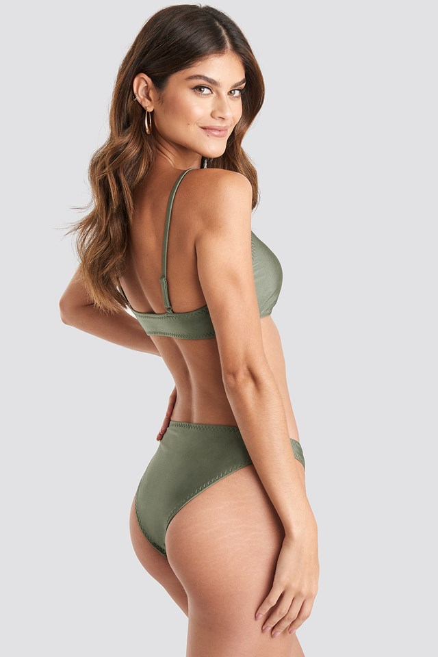 Zig-Zag Seam Bikini Top Khaki Green