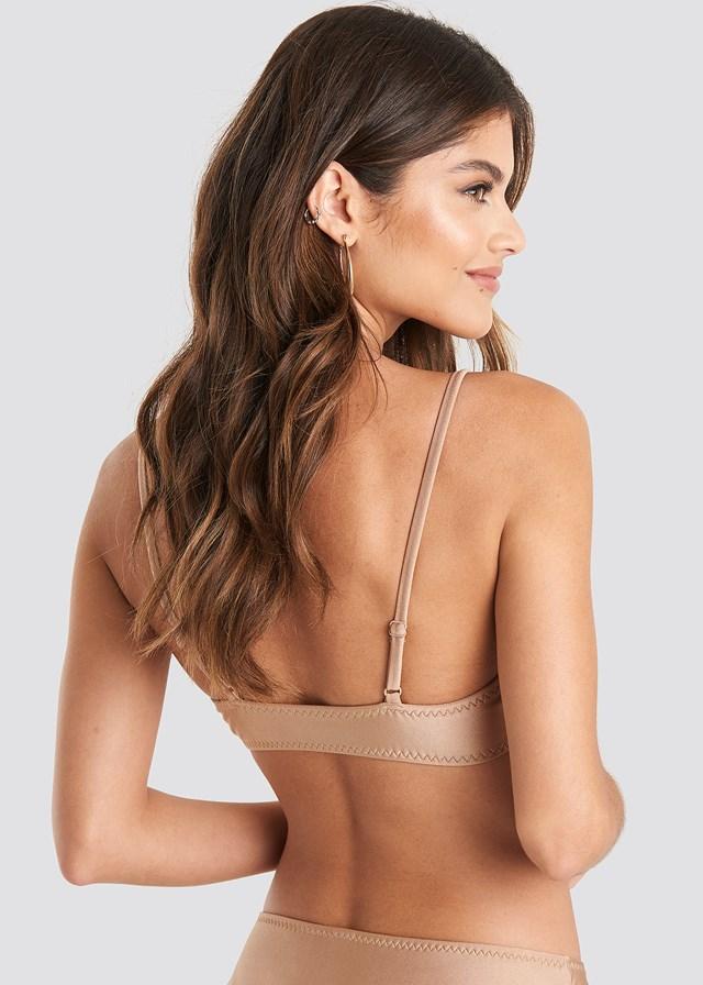 Zig-Zag Seam Bikini Top Light Taupe