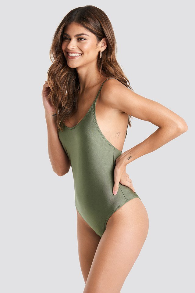 Zig-Zag Seam Swimsuit Khaki Green