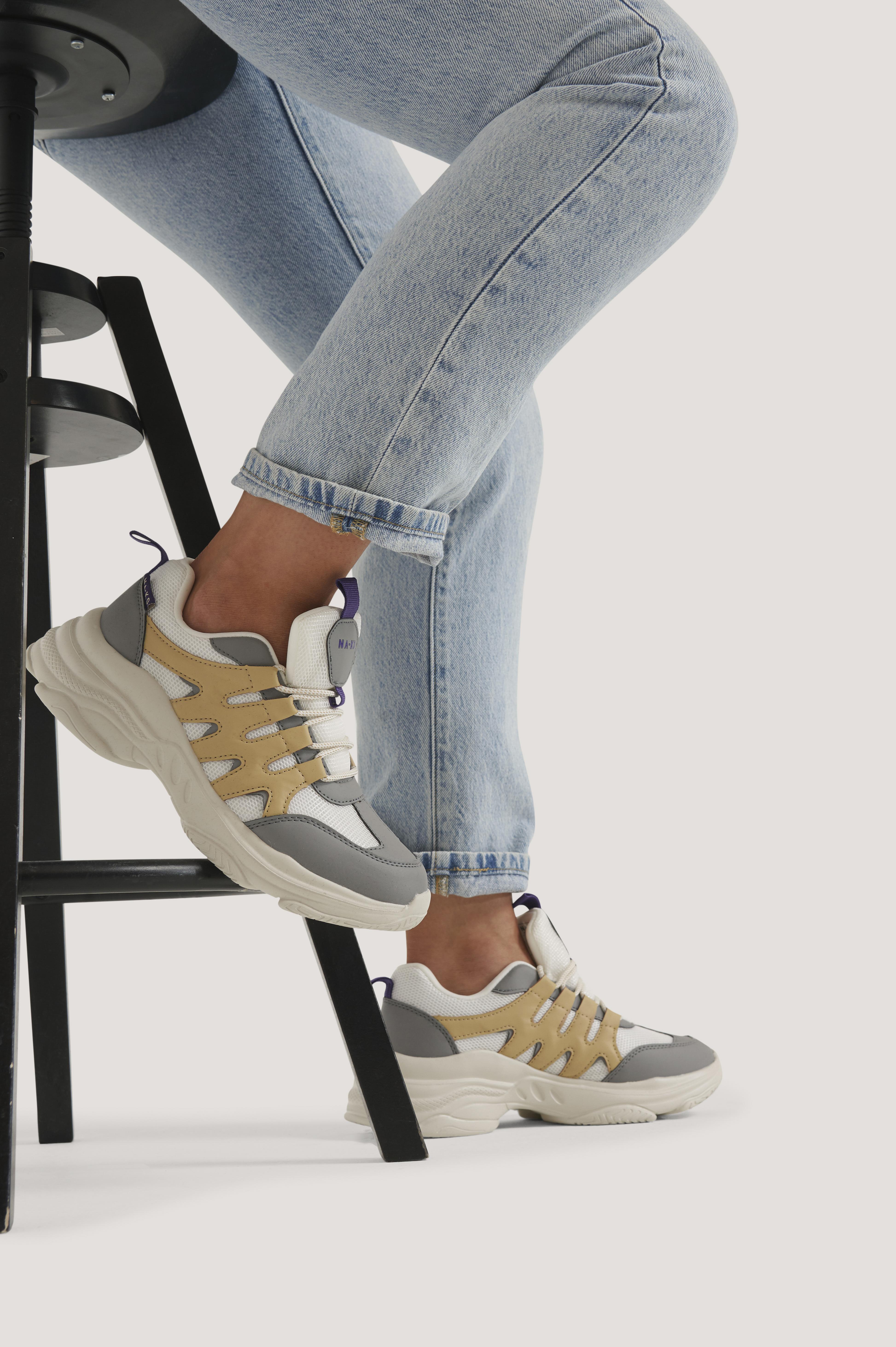 na-kd shoes -  Zig Zag Chunky Trainingsschuhe - Grey