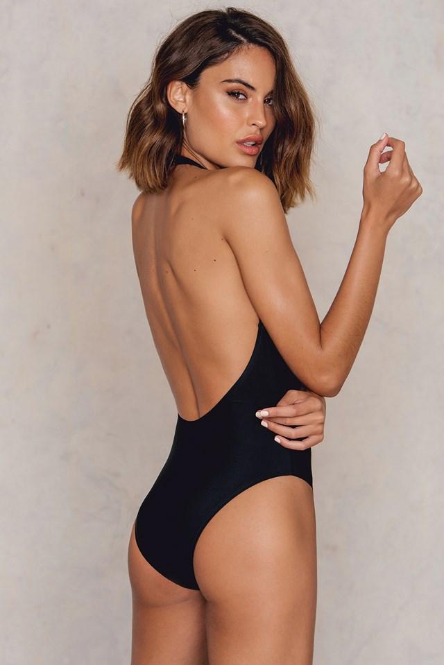 Zip Deep V Neck Swimsuit Black