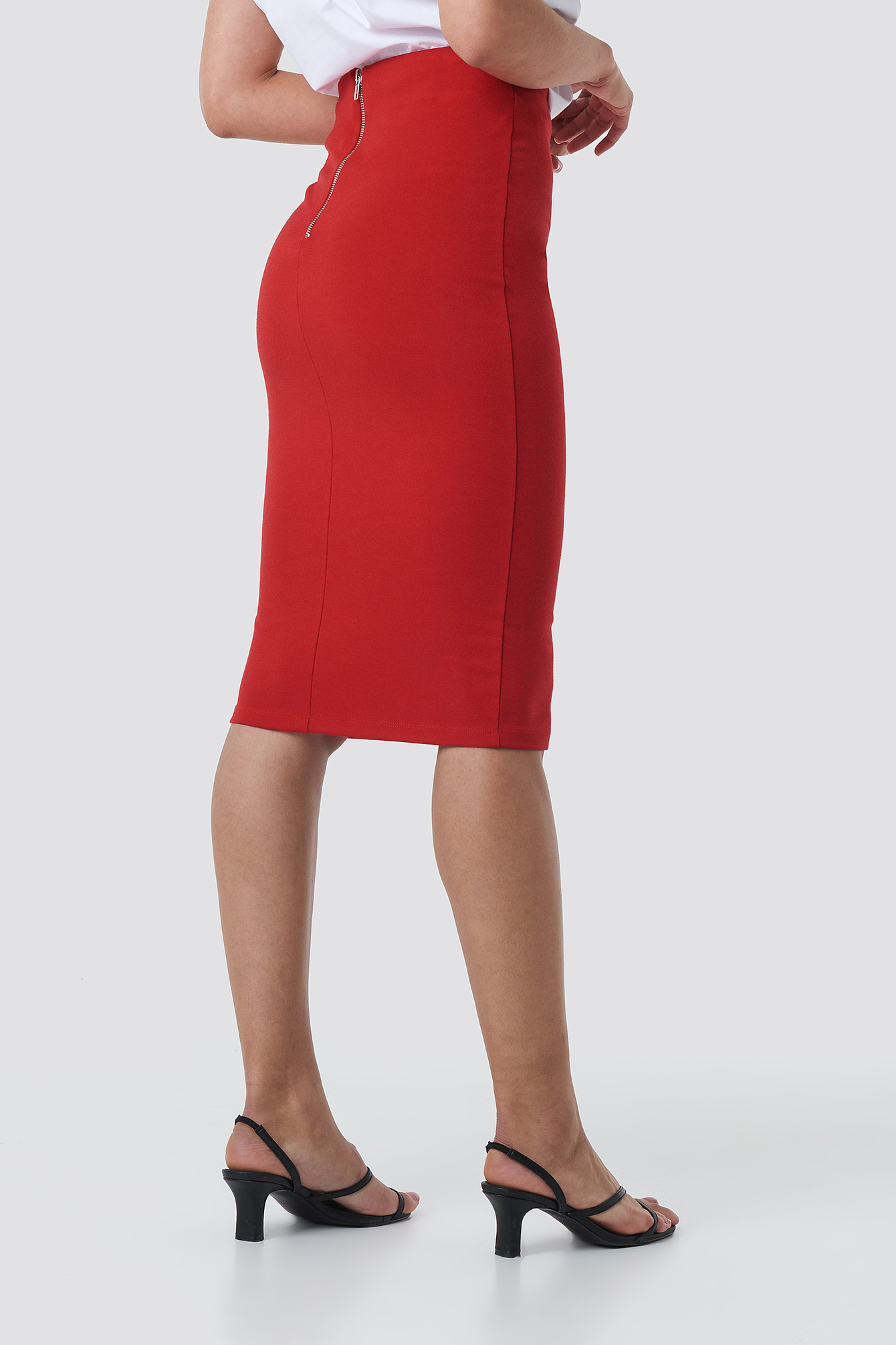 Zip Detail Bodycon Midi Skirt NA-KD.COM
