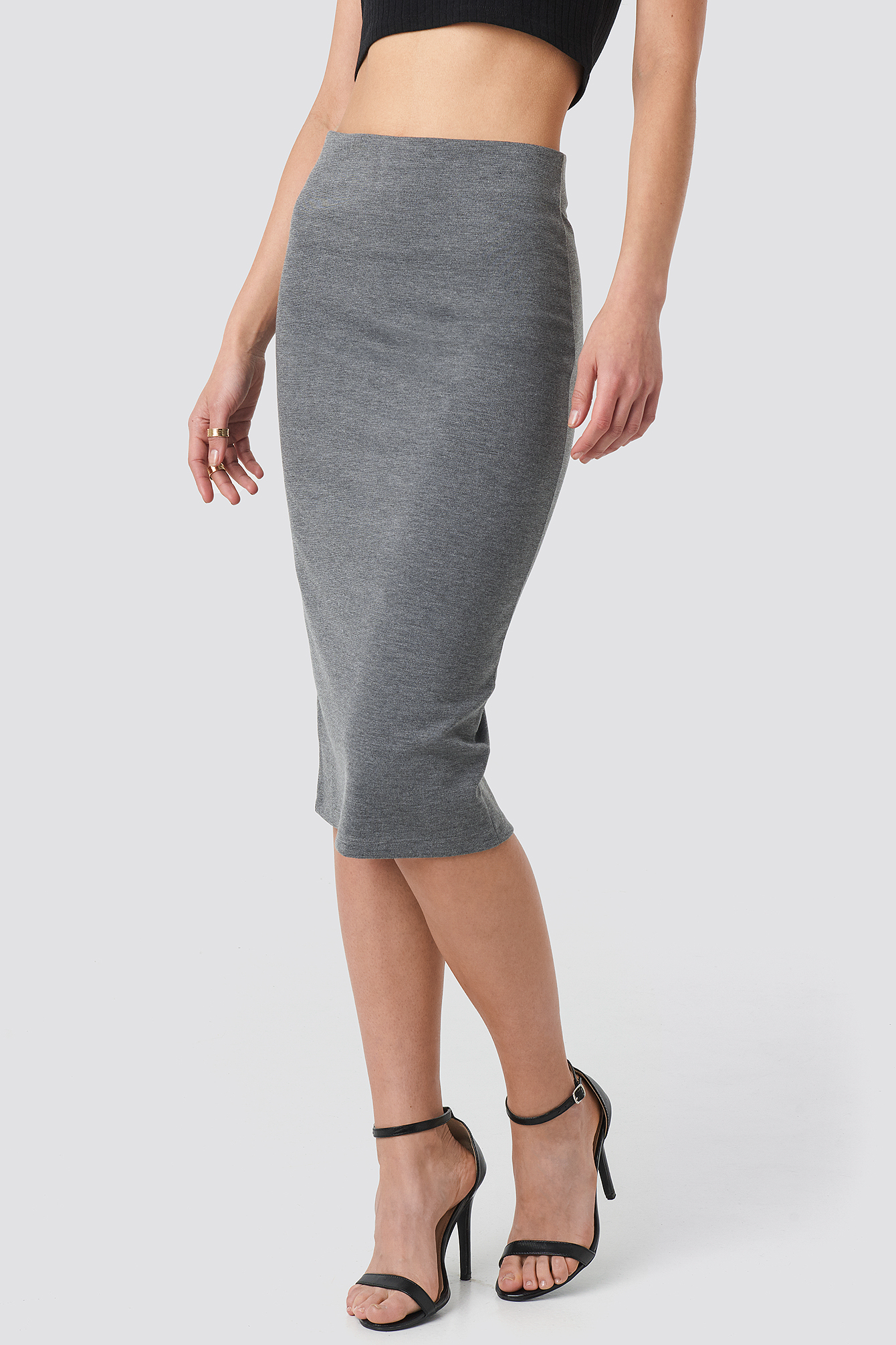 Zip Detail Bodycon Midi Skirt NA-KD.COM