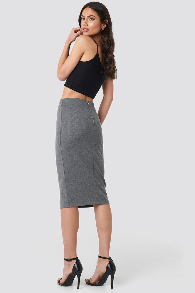 Zip Detail Bodycon Midi Skirt Grey