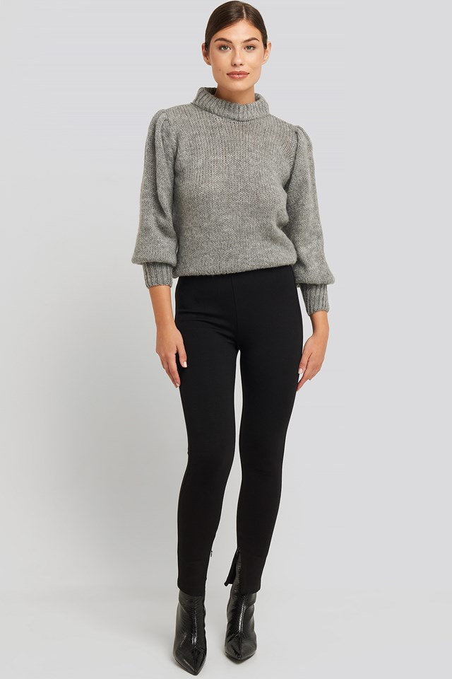Zip Detail Jersey Pants Black