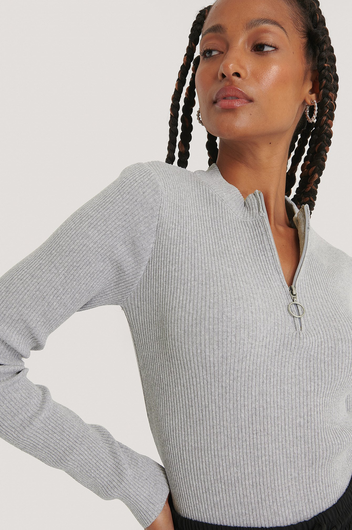 Grey Recycled Zip Detail Knitted Sweater