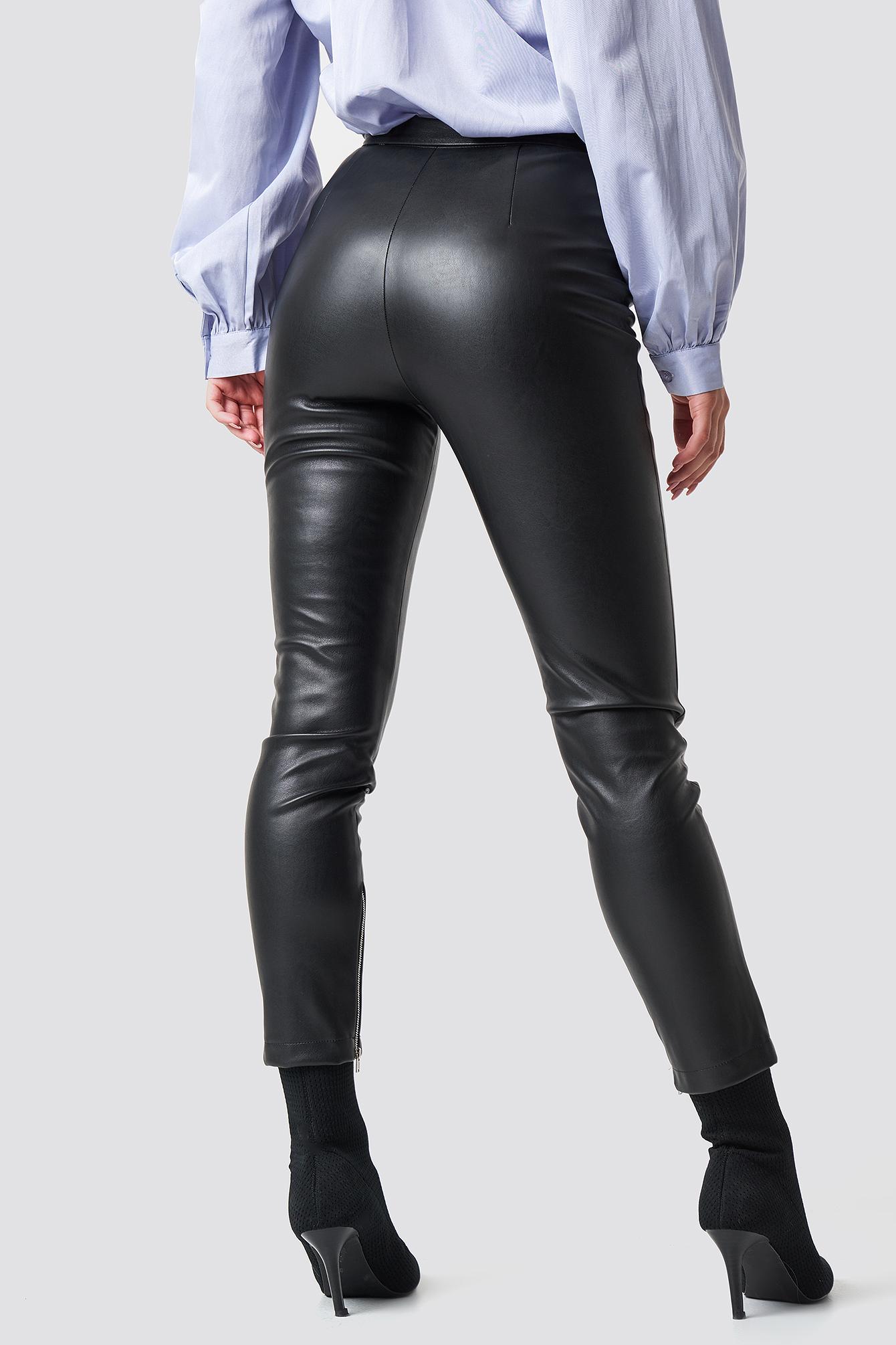 Zip Detail PU Pants NA-KD.COM