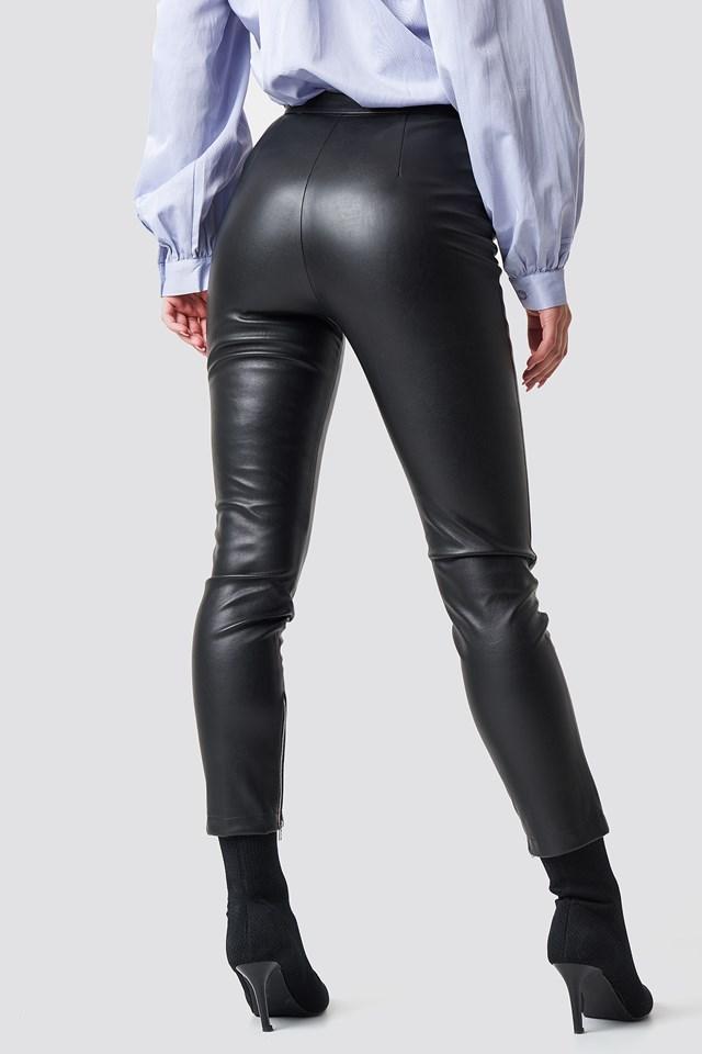 Zip Detail PU Pants Black