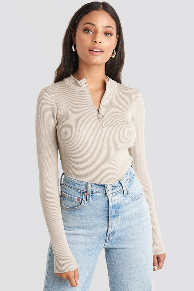 Zip Knitted Sweater Beige