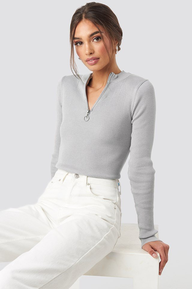Zip Knitted Sweater Light Grey