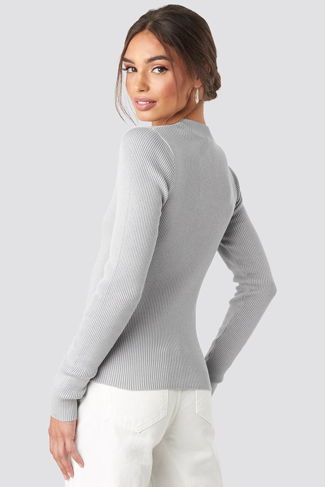 Zip Knitted Sweater Light Grey