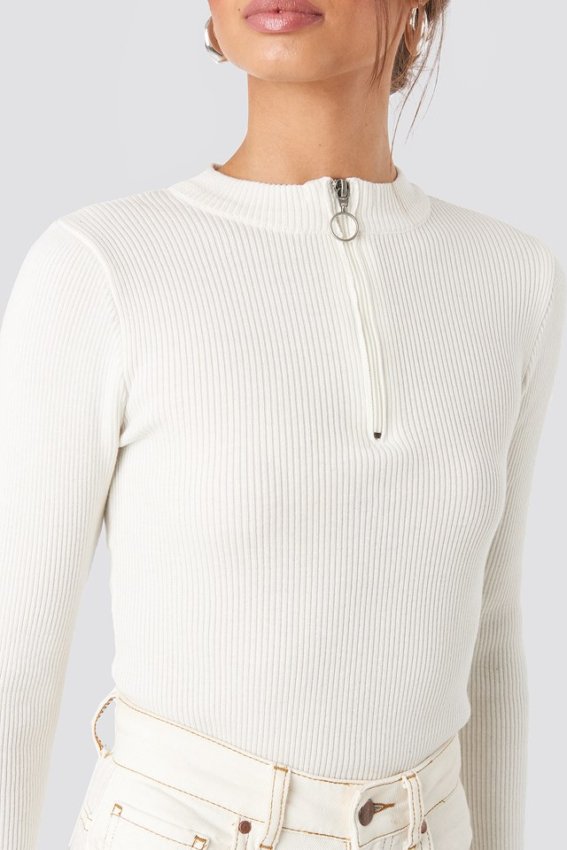 Zip Knitted Sweater Offwhite