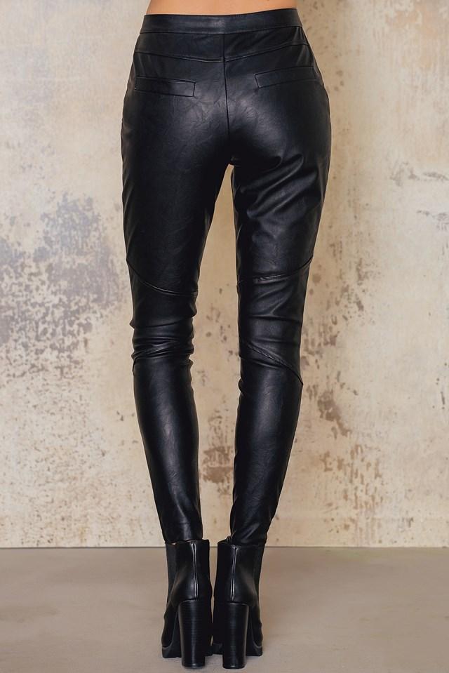 Zipped PU Pants NA-KD.COM