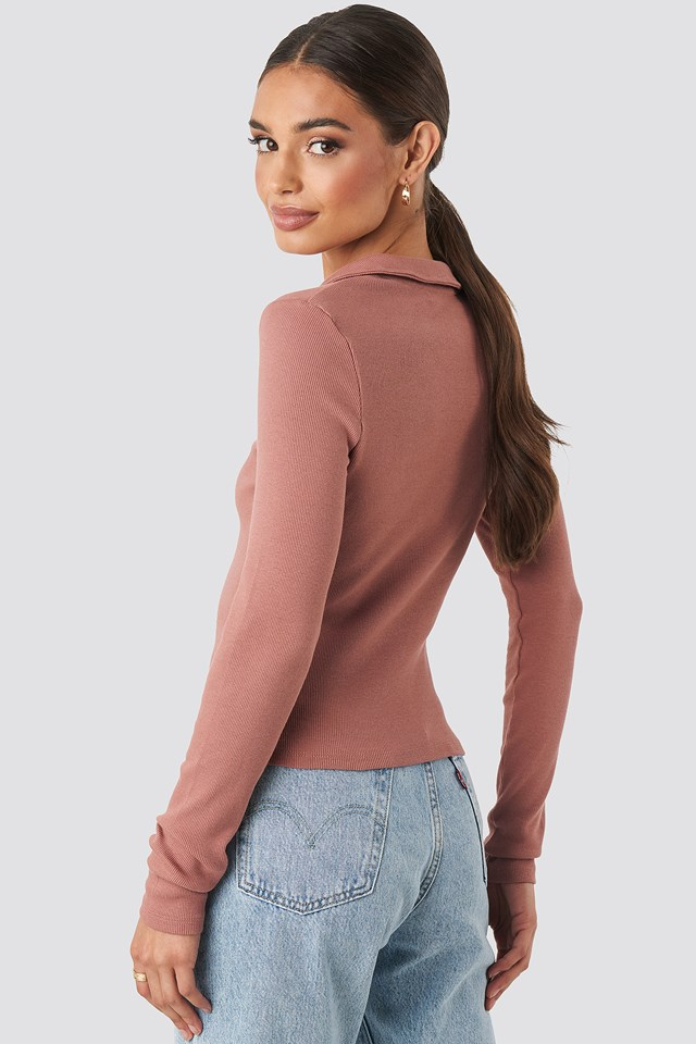 Zipped Ribbed Top Dusty Dark Pink