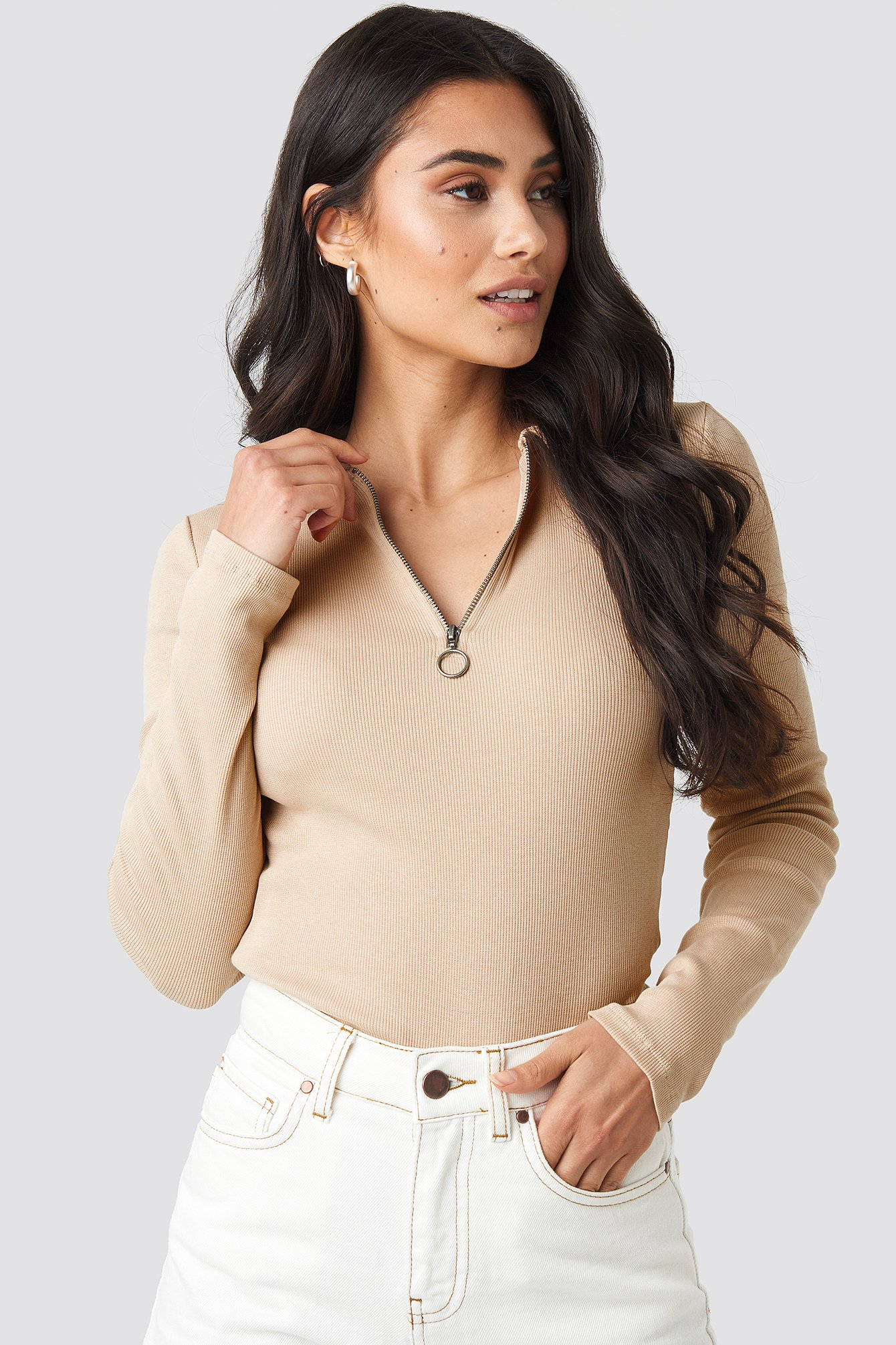 NA-KD | NA-KD Zipped Ribbed Top - Beige | Goxip