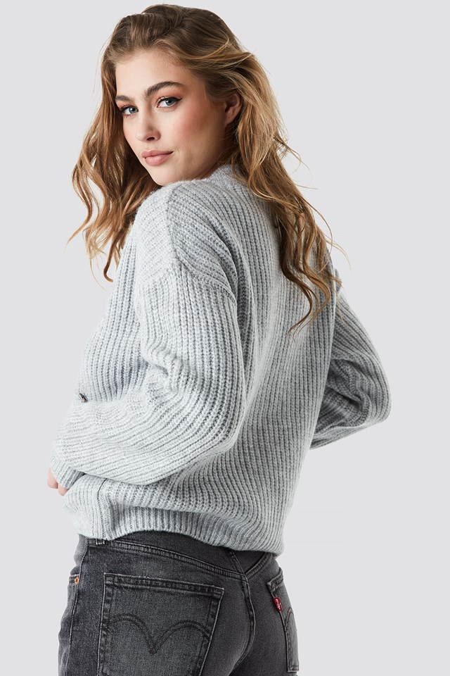 Zipper Cardigan Light Grey