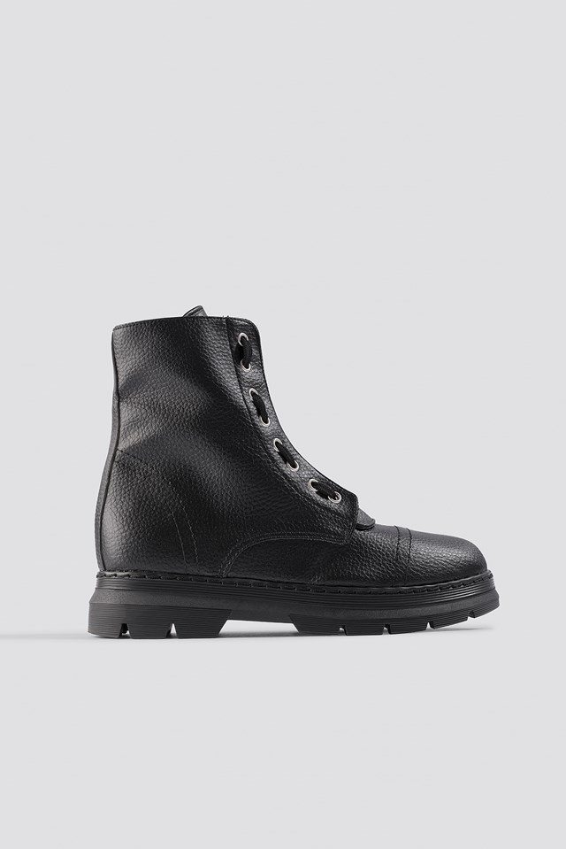 Zipper Detail Combat Boots NA-KD Shoes