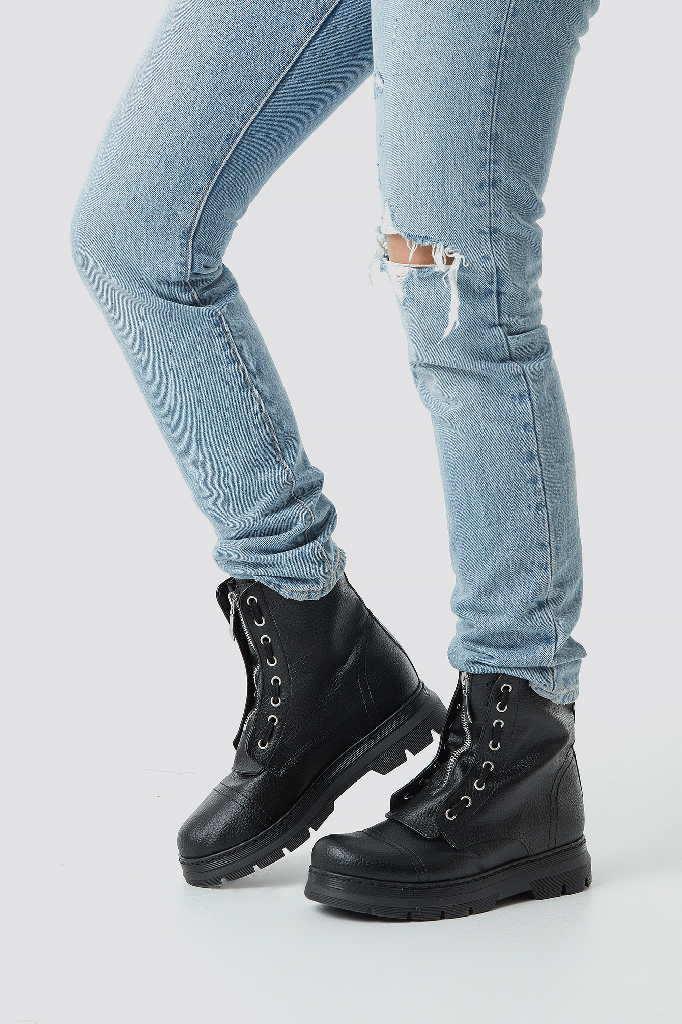Zipper Detail Combat Boots NA-KD.COM