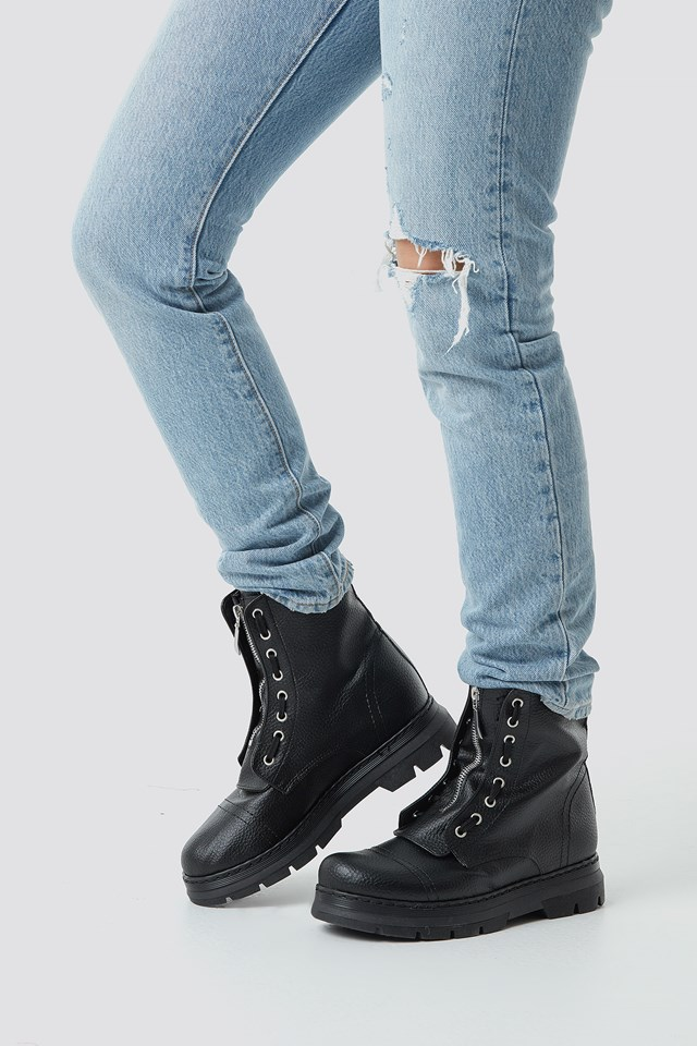 Zipper Detail Combat Boots Black