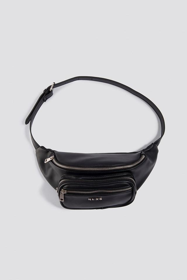 Zipper Detail Fanny Pack Black