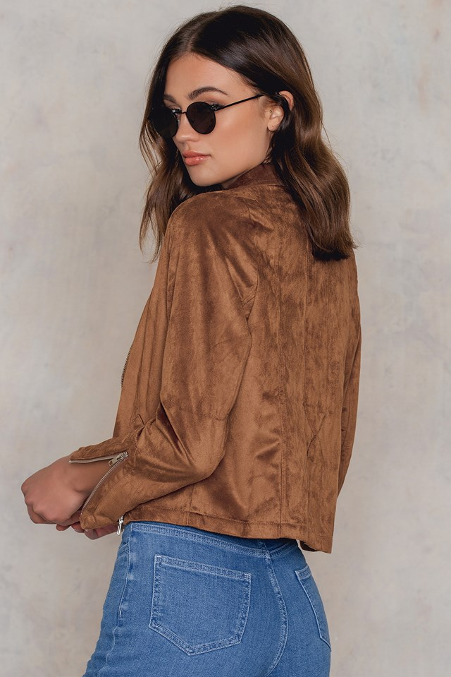 Zipper Detailed Faux Suede Jacket Brown