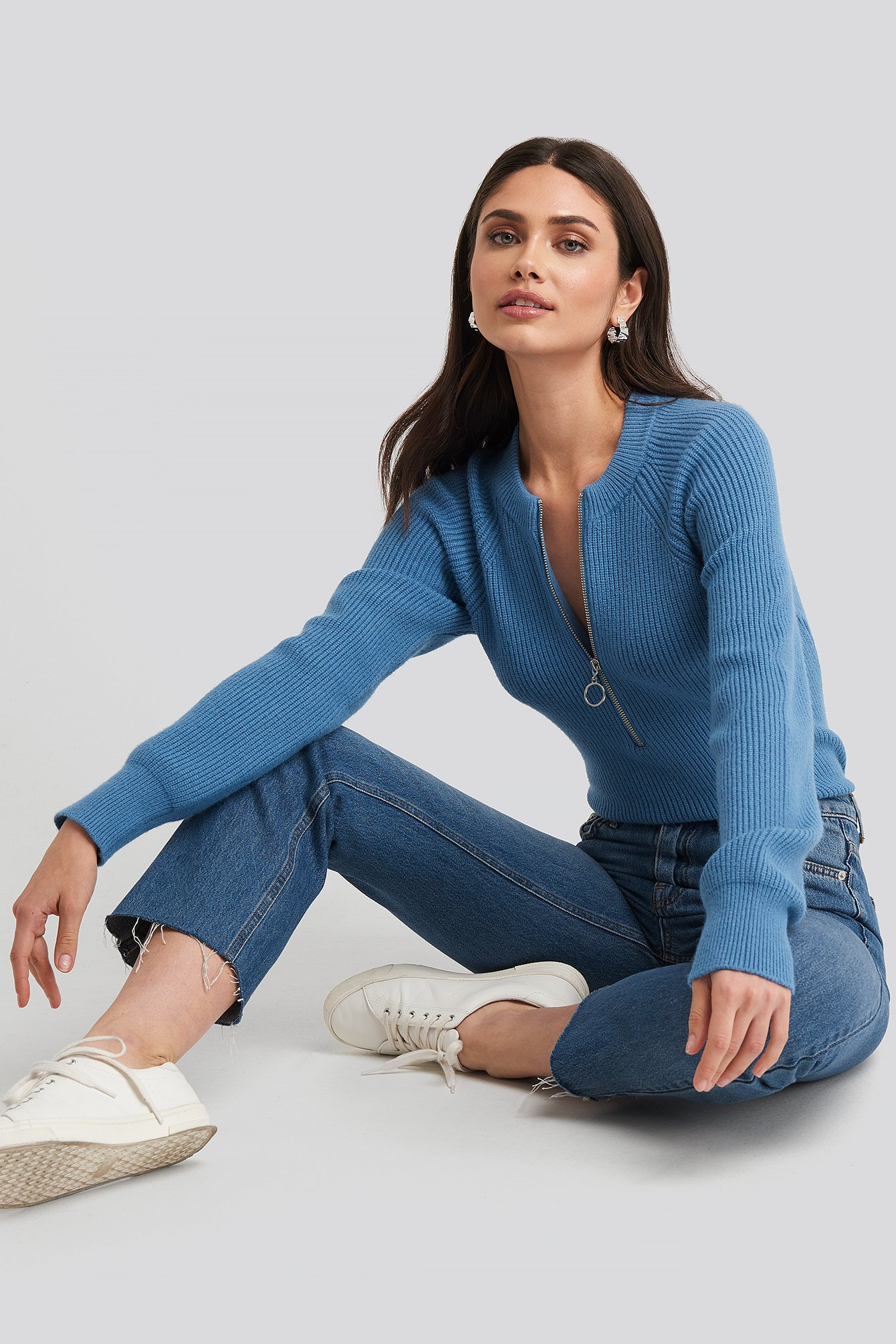 Zipper Front Knitted Sweater Bleu by Na Kd