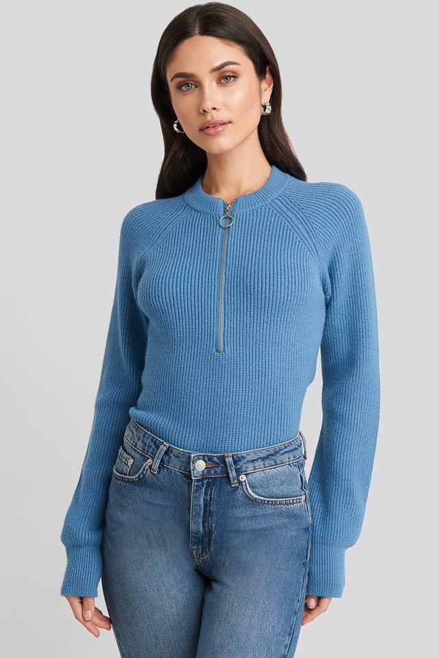 Zipper Front Knitted Sweater Blue