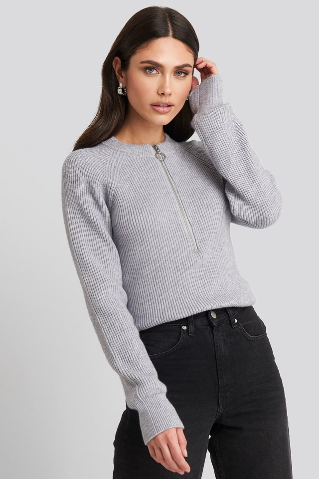 Zipper Front Knitted Sweater Light Grey