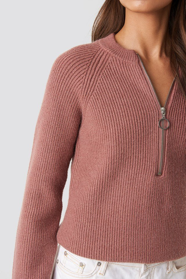 Zipper Front Knitted sweater Dusty Dark Pink